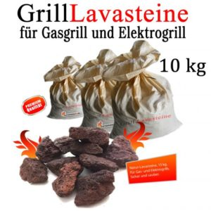 10 kg Grill Lavasteine für Gasgrill -Elektrogrill (1,49 € pro kg)